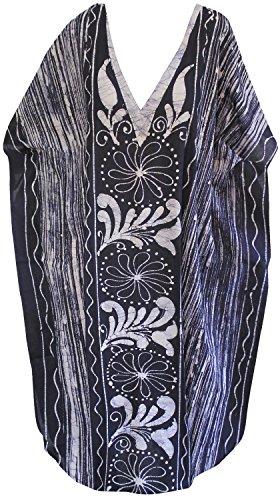La Leela lange Kaftan Bademode Badebekleidung Baumwolle Hand Batik Frauen Nacht tragen Kleid evevning Marineblau 5
