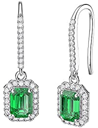 Princess Emerald and Diamond Pave Silver Earrings (EMERALD CUT WHITE GOLD)