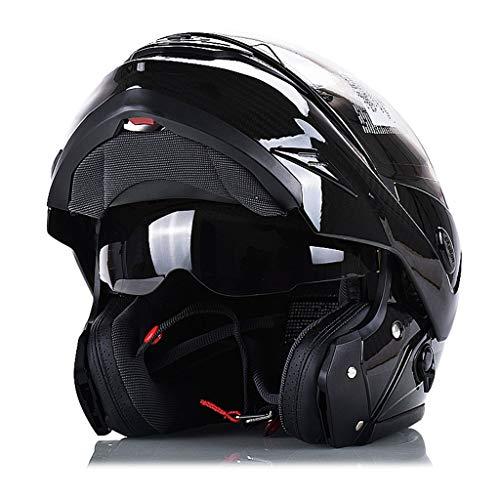 Motorradhelm Full Cover Leichte Carbon Fiber Helm Doppellinse Road Racing Herren Vier Jahreszeiten Helm (Farbe : SCHWARZ, größe : XL)
