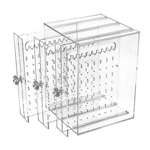 JNCH Caja de Pendientes 192 agujeros + 30 intervalos para colgar de Almacenamiento de Joyería de Acrilico Transparente de 3 Cajones - Gran capacidad, suficiente para organizar bien todos sus pendientes - Hecho de acrilico de buena calidad, brillante,...