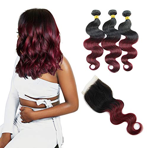 Remy Human Hair Weave Bundles - Orange Star 9a hair ombre body wave 3 bundles with closure hair wave natural black to burgundy (25, 30, 35 +25 cm, 1B/99j)