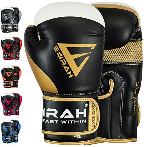 EMRAH Charged V-2 Guantoni da Boxe Muay Thai Formazione Sparring Sacco da Boxe Mute Kickboxing combattente Boxing Gloves (Oro, 10 oz)