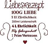 GRAZDesign 300033_30_WT030 Wandtattoo für Küche Rezepte Liebesrezept Herzen Liebe - Geschenk-Idee für Hochzeit | Deko für Küchenwand (32x30cm//030 Dunkelrot)