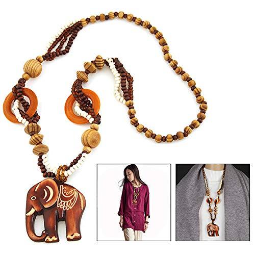 Xrten Collar de Madera Largo Moda Retro con Colgante de Elefante, Collar suéter para Mujeres