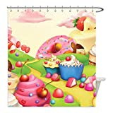 liguo88 Custom Wasserdicht Badezimmer Duschvorhang Polyester Modern Yummy Donuts Sweet Land Cupcakes Eis Cotton Candy Wolken Kinderzimmer Design Multicolor Dekorative Badezimmer, Polyester, multi, 48 x 72 inches