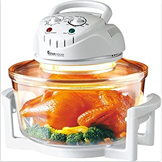 Oven de Convection Combi Grill Turbo Broiler Halogen With Bowl de Glass Tempered - Capacity 12 L - with Ring de extension y accessories (White)