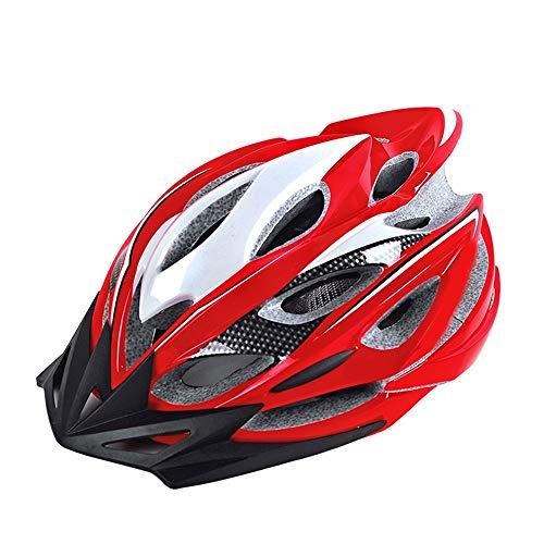 WPCBAA Freizeithelm Fahrrad Reithelm Integriertes Formteil 22 Belüftungsloch Reitausrüstung Fahrrad Mountainbike Rennrad Helm Hut (Farbe : Blank and red)