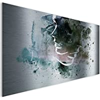 Green Faces moderno astratto lucido contemporaneo in alluminio metal Wall