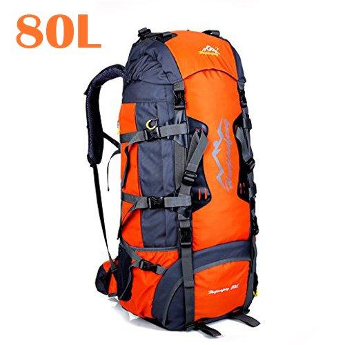 80 litri Zaini da escursionismo, ideale per lo sport all'aperto, trekking, viaggi di campeggio, montagna. Borsa per alpinismo impermeabile, Daypack da arrampicata da viaggio,Zaino(80L, 80L Arancione)