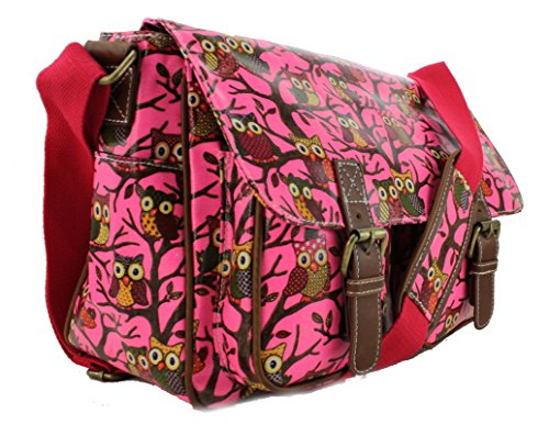 Miss Lulu , Damen Schultertasche Medium Owl Bright Pink