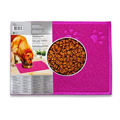 dealfin Napfunterlage, Futtermatte PVC Rutschfest & Wasserdicht 40x30cm Katzen & Hunde (Pink)