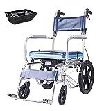 lHishop Cómoda Silla Móvil Silla De Inodoro Asiento con Ruedas con Cojín Acolchado PU para Ancianos Discapacitados Máx,Blue