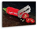 Dark extrem scharfe Peperoni im Format: 60x40 als Leinwandbild, Motiv fertig gerahmt auf Echtholzrahmen, Hochwertiger Digitaldruck mit Rahmen, Kein Poster oder Plakat