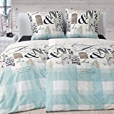 Janine Biber Bettwäsche 3 teilig Bettbezug 200 x 220 cm Kopfkissenbezug 80 x 80 cm DAVOS Karo Schrift mineralblau platin braun