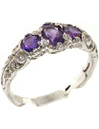 Ladies Solid 925 Sterling Silver Natural Amethyst Victorian Trilogy Ring