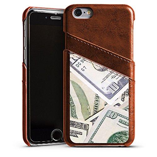 Apple iPhone 5 Housse Étui Silicone Coque Protection Argent Dollar Billets Étui en cuir marron