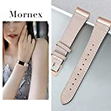 Mornex Strap Compatible Fitbit Charge 3 Strap/Charge 3 SE Leather Strap, Classic Adjustable Replacement Wristband Fitness Accessories Metal Connectors,Rose Gold-Beige