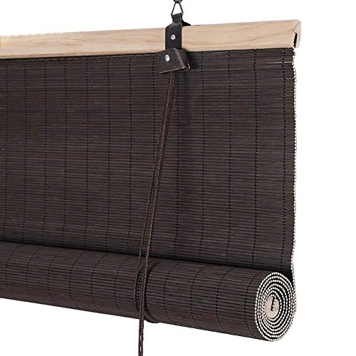 Bamboo roller blinds,Light Filtering Blinds Roller Shades - Blackout Roma Shades for Teahouse, Patio,Balcony,Doors,Restaurant,Garden ZHANGAIZHEN (Color : Brown, Size : 100 * 180cm)