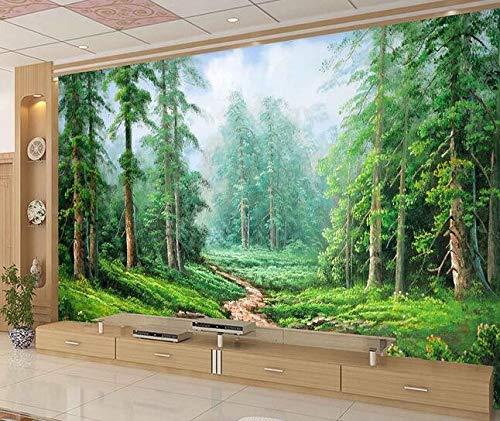3D-Stereo-Wandgemälde, grünes Auge, Waldmalerei, Wohnzimmer-Sofa-TV-Hintergrunddekoration, nahtlose Wandwand, 200 × 175 ()