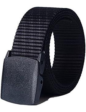 BinKe Cinturón de Nailon,Moda Salvaje Hombre Lona Correa Metal Hipoalergénico Libre Automática Hebilla de Plástico...