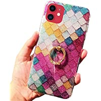 JAMIE Case for New iPhone 11 6.1 inch Luxury Sparkle Bling Glitter Rose Mermaid Scale Print Soft TPU Phone Cover for Girls Women Clear Slim Design with Ring Stand Holder Protective Case (Mermaid)