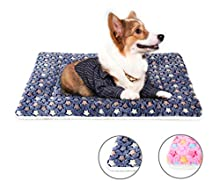 Dog Bed Blanket Cat Kitten Pet Bed 24'' Dog Crate Bed Mat Mattress Dog Cage Pillow Washable Pet Bed Cushion for Medium Cats and Small Dogs M Dark Blue