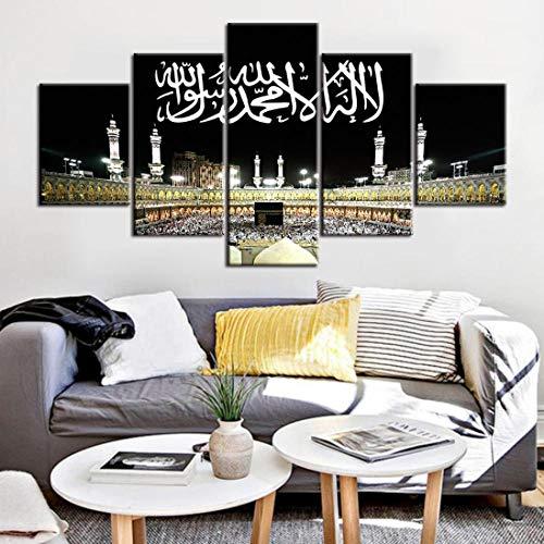QPWOEI Muslimischen Bibel Poster Islam Allah Der Koran Leinwand Malerei 5 Stücke HD Gedruckt Wandkunst Rahmen wohnzimmer Dekoration Bild-2-20X35 20X45 20X55cm,no frame