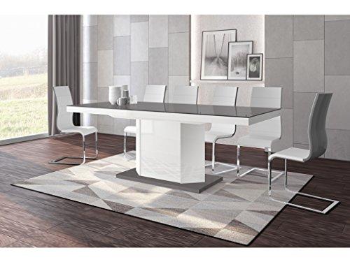 H MEUBLE Table A Manger Design Extensible 160÷256 CM X P : 89 CM X H: 75 CM - Gris/Blanc