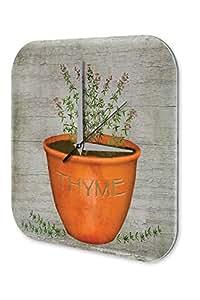 Horloge murale Décoration Magasin Fleurs l'orange pot thym herbes Plexiglas