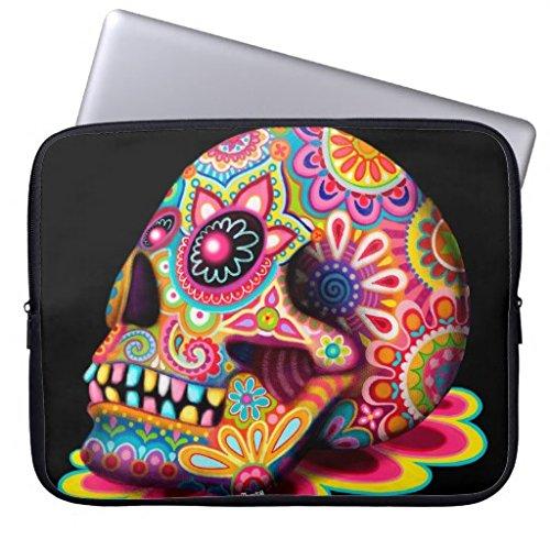 Preisvergleich Produktbild 11.6-12 Inch Laptop Sleeve for Women Colorful Sugar Skull Art Laptop Case Soft Neoprene Water Resistance Notebook Computer Case Both Sides