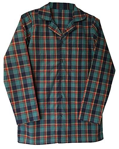 Herren 100% Baumwolle elegant Flanell Langarm Nachthemd Pyjama Oberteil in 4 größen (XL - 42-44',...