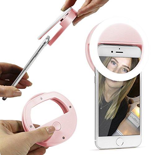 Urcover® Universal Selfie-Ring mit 36 dimmbaren LED´s | Ring-Licht Strahler Selfie Case Alternative | Rosa | Smartphone Gadget Ringlicht Handy Zubehör Flash Ring-Leuchte Foto-Lampe Fotolicht