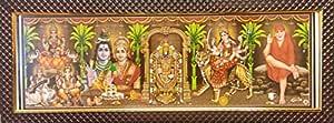 7 Hills Store Five/5 Hindu God and Goddess in a Photo Frame of Tirupati Balaji, Ganesha Lakshmi Saraswati, Shiv Parvati, Durga, Sai Baba Photos in a Frame for Pooja