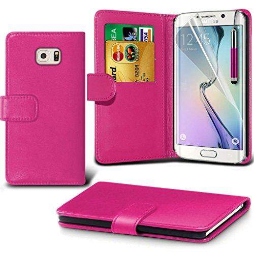 Samsung Galaxy S6 edge+ Étui Housse + cas [galaxie S6 bord Plus] Phone Holder Universal Support de voiture tableau de bord et pare-brise pour iPhone yi -Tronixs Wallet + ( Hot Pink )