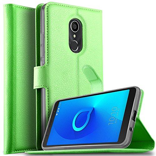 KuGi DOOGEE X6S Hülle, DOOGEE X6S Wallet Case, Brieftasche Case Hülle PU Kunstleder Flip Case mit Standfunktion Kartenfächer und Bargeld für DOOGEE X6S Smartphone.Grün