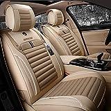 Autositzbezug, autositz stilvolle Tuch vollen Satz, 100% atmungsaktiv verbund Schwamm, airbag kompatibel, 5 Sitz universal, fit die meisten Auto (Color : Beige)