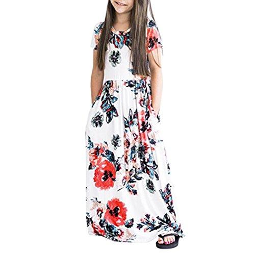 MCYs Baby Mädchen Kind Blumendruck Outfits Kleidung Festliche Kleider Kurzarm Kleid Schöne Lange Maxikleid Frühjahr-Sommer Kinderkleidung Prinzessin Party Kleid (6Jahre, Weiß)