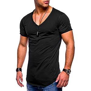 Routinfly Männer Slim Fit Shirt Kurzarm, männliche Muscle Top V-Ausschnitt Bluse