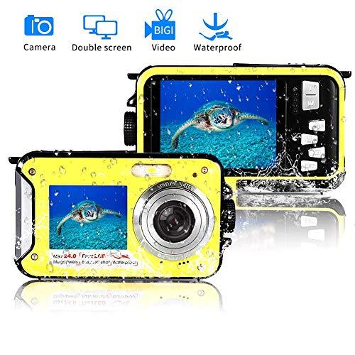 BILLY'S HOME Wasserdichte Kamera, Full HD 1080P Underwater Digital Camera 24.0MP Waterproof Camera Selfie Dual Screen Point und Shoot Underwater Digital Camera,Yellow Digital Point And Shoot Film Camera