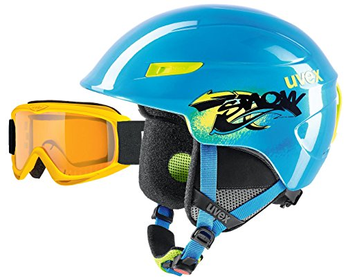 UVEX u-kid Kinder und Junior Skihelm 51-55cm blue lime + Skibrille yellow