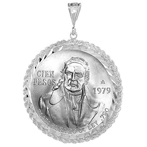 Revoni-Bracciale in argento Sterling, 39 mm Cien Pesos messicano & più cerchi in argento, con pendente a forma di moneta, lunetta con bordo a corda, monete non sono