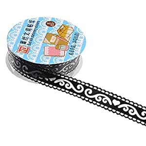2x DIY Diary Hollow Decorative Stickers Lace Tape Stationery School Gift (Black)