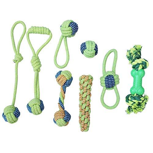 QYLJX Hundespielzeug, Haustier Hund Seil Spielzeug Baumwolle Seil Hund Tug Krieg Seil Spielzeug Set Dental Zähne Reinigung Chew Spielzeug für Kleine und Mittlere Hunde - Packung mit 8PCS