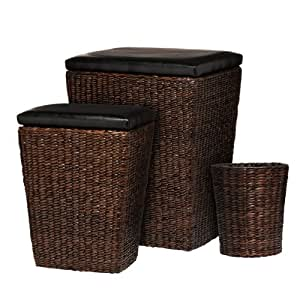 premier housewares ensemble de 3 paniers en osier 2 paniers linge et 1 corbeille papier. Black Bedroom Furniture Sets. Home Design Ideas