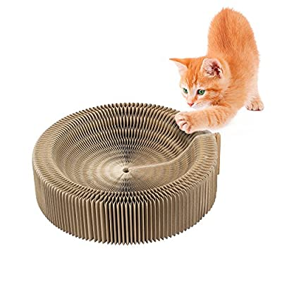 Cat Scratcher Bed, Collapsible Cardboard Scratcher Toy Round Scratching Lounge Bed for Kitty Kitten Cat