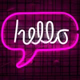 """Ciao LED Luce Neon Word Sign Neon Word Letters Luce Kids 'Room Decor Wall Decor per Baby Room Festa di compleanno, Living Room, Wedding Party Supplies 16.9""""x12.6"""" (Pink White Hello)"""