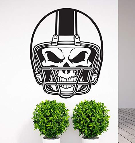 fancjj Abnehmbare American Football NFL Helm Schädel Vinyl Wandtattoo Kunst Aufkleber Home Wohnzimmer Schlafzimmer Wand Decor Wandbild Sport 57X71 cm - Mulch Gold
