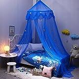 AIHOME Baldachin Betthimmel Moskitonetzen mit Sternen Dekoration für Kinderbetten, Einzelbett und Doppelbett Blau