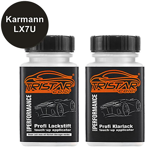 Preisvergleich Produktbild Autolack Lackstift Set Karmann LX7U Oolonggrau Metallic / Oolong Gray Metallic Basislack Klarlack je 50ml