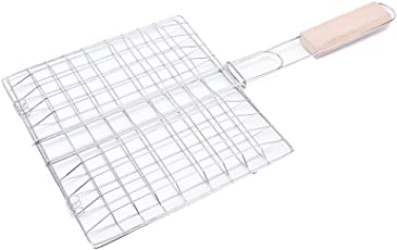 GosFrid Food Warmers 1 Pcs Barbecue Grilling Basket Grill BBQ Net With Wooden Handle